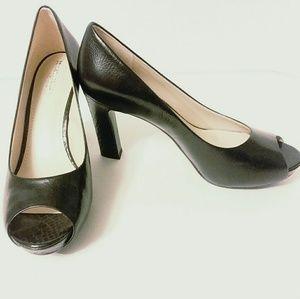 Naturalized Open Toe Black Heels